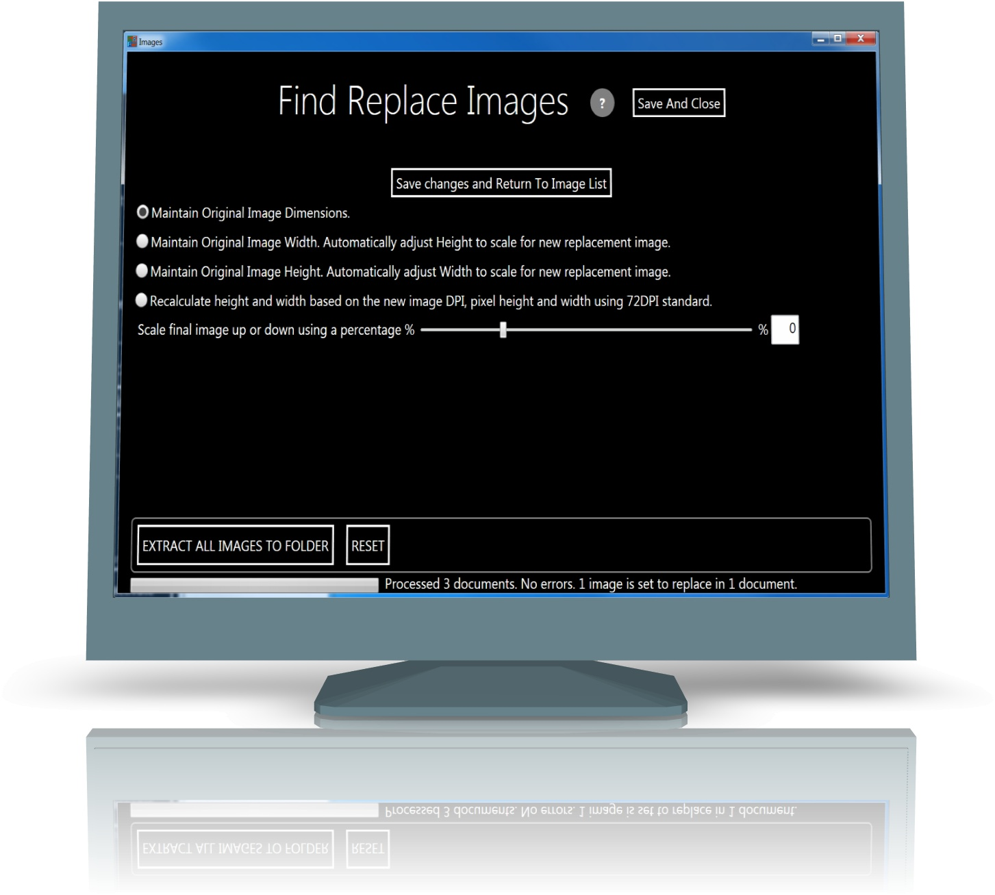 Image substitutions screen in global office find and replace